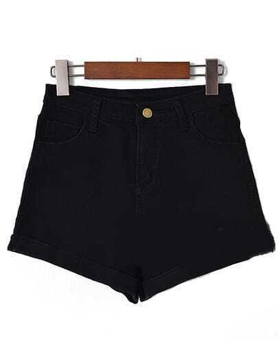 High Waist Cuffed Denim Black Shorts pictures