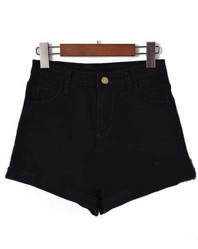 Hohe Taille Denim Shorts-schwarz