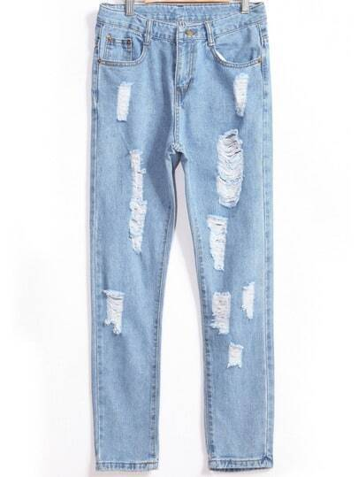 With Pocket Ripped Denim Slim Pant