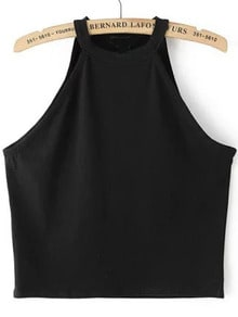 Halter Crop Black Tank Top -SheIn(Sheinside)