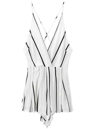 Spaghetti Strap Vertical Striped White Jumpsuit