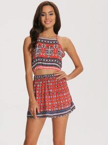 Halter Backless Vintage Print Crop Top With Shorts