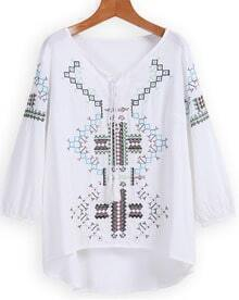 Dip Hem V Neck Embroidered Top