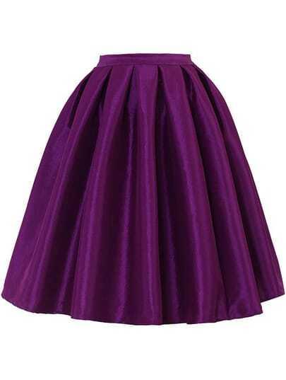 High Waist Vintage Pleated Purple Skirt -SheIn(Sheinside)
