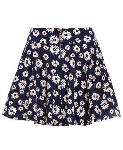 Daisy Print Zipper Skirt