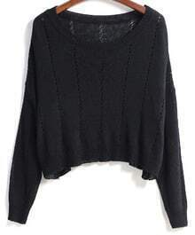 Round Neck With Hollow Crop Black Sweater