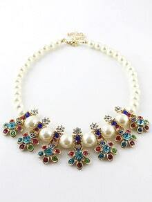 Multicolor Diamante Bead Necklace