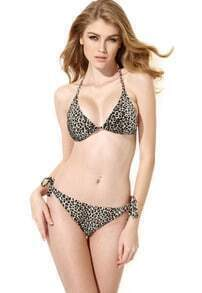 Brown Leopard Triangle Top With Classic Cut Bottom Bikini Swimwear