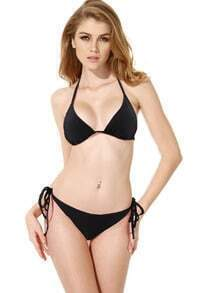 Black Triangle Top with Classic Cut Bottom Bikini Swimwear