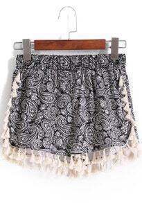 Black Elastic Waist Cashew Print Tassel Shorts