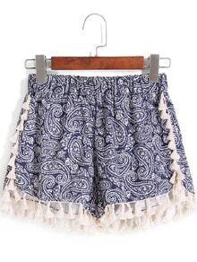 Shorts mit Gummibund und Druck-blau