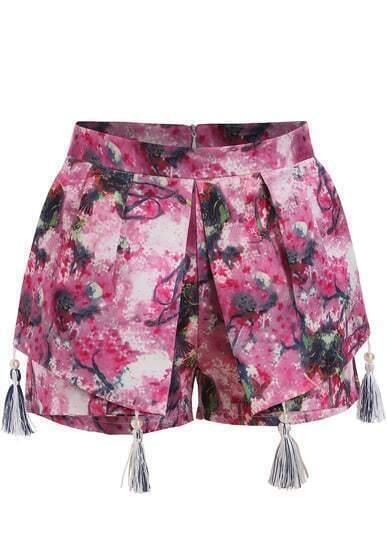 Red Floral Tassel Skirt Shorts