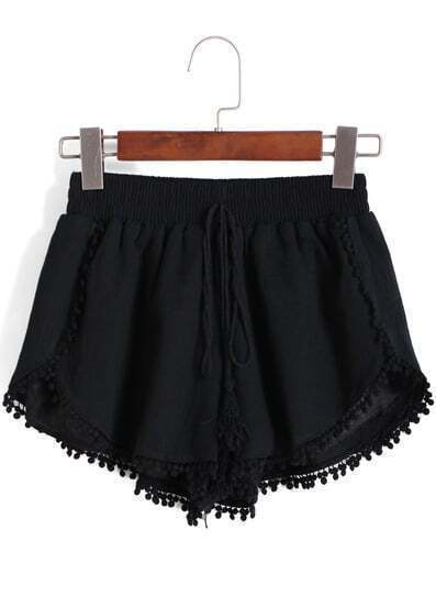 Black Elastic Waist Peplum Trims Shorts