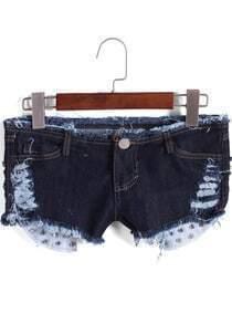Navy Low Waist Ripped Denim Shorts