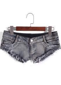 Blue Low Waist Fringe Denim Shorts