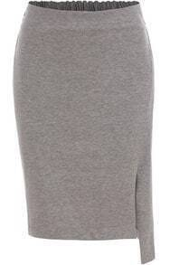 Grey Slim Split Skirt