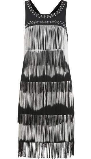 Black Sleeveless Rhinestone Tassel Tank Dress