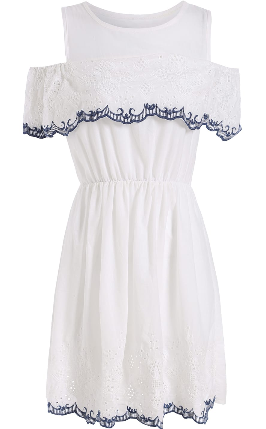 White off the shoulder embroidered dress shein sheinside