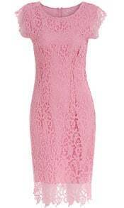 Pink Cap Sleeve Floral Crochet Lace Dress
