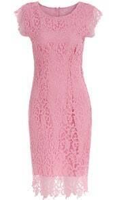Pink Cap Sleeve Floral Crochet Lace Dress