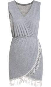 Grey V Neck Sleeveless Tassel Slim Dress