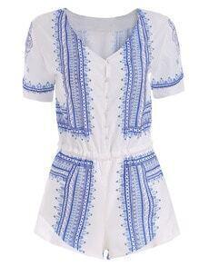 Blue White V Neck Floral Chiffon Jumpsuit