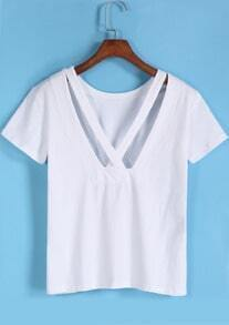 White Short Sleeve Backless Loose T-Shirt