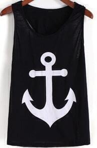 Black Anchors Print Bow Embellished Tank Top