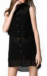 Black Lapel Sleeveless Buttons Chiffon Dress