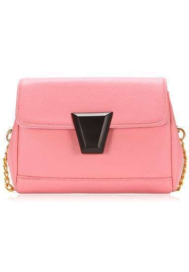 Pink Magnetic Buckle Chain PU Bag