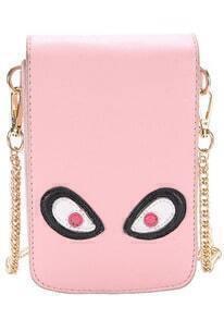 Pink Cartoon Monster Pattern Chain Wallet