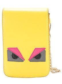 Yellow Cartoon Monster Pattern Chain Wallet