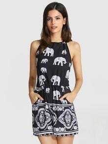 Mono halter Elefante Tribal -negro