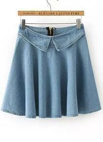 Blue Zipper Pleated Denim Skirt