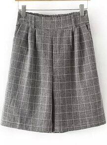 Grey Elastic Waist Plaid Straight Half Pant