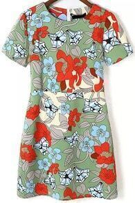 Green Round Neck Puff Sleeve Floral Dress