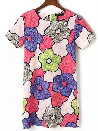 Multicolor Short Sleeve Floral Loose Straight Dress