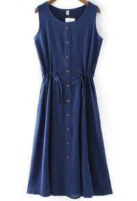 Navy Sleeveless Vintage Drawstring Buttons Dress