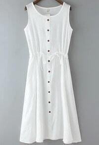 White Sleeveless Vintage Drawstring Buttons Dress