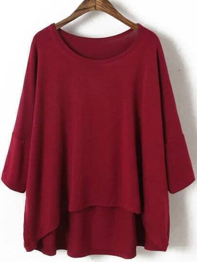 Red Batwing Loose Modal Dip Hem T-Shirt