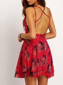 Red Spaghetti Strap Florals Chiffon Dress
