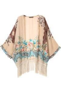 Apricot With Tassel Florals Loose Kimono