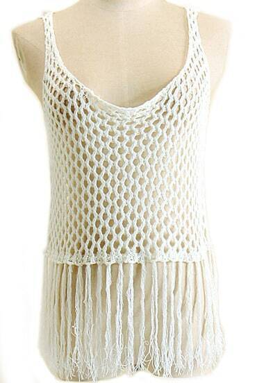 White With Tassel Hollow Tank Top