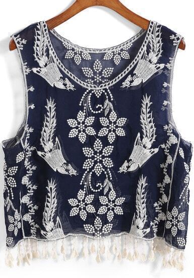 Navy With Tassel Embroidered Tank Top