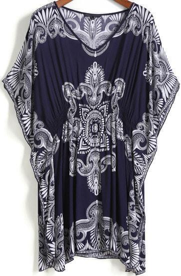Blue V Neck Vintage Print Shift Dress