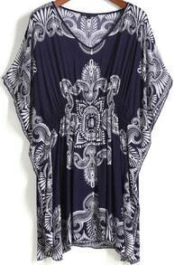 Blue V Neck Vintage Print Shift Dress