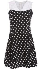 Black V Neck Contrast Lace Polka Dot Dress
