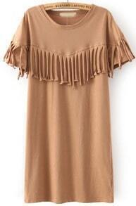 Khaki Short Sleeve Tassel Straight Dress