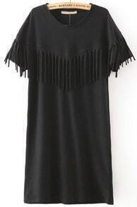 Black Short Sleeve Tassel Straight Dress