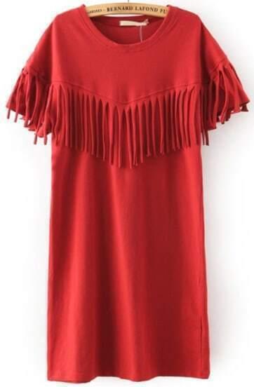 Vestido manga corta flecos -rojo